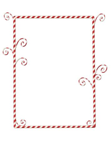 Whimsical Christmas frame of candycanes isolated on white