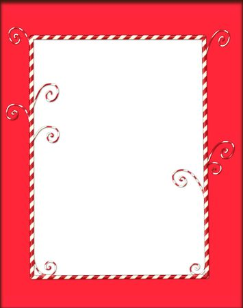 Whimsical Christmas frame of candycanes on red Stock Photo