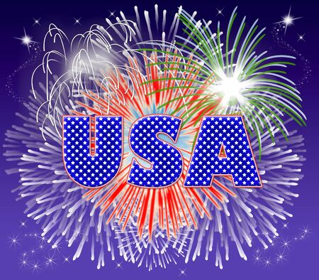 Typography illustration of USA with fireworks exploding behind