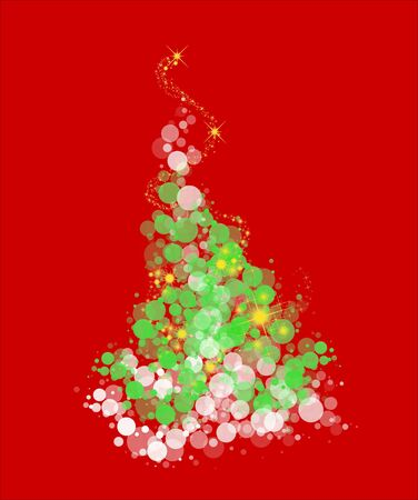 Whimsical curvy Christmas tree with starry sparkles on a red background