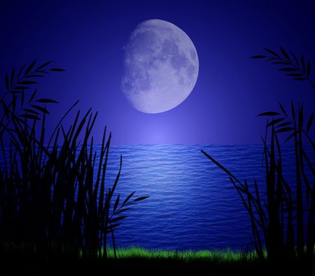 Gigantic moon reflecting on calm evening water