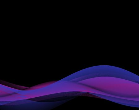 Abstract background of blue and fuchsia waves on black Stock Photo