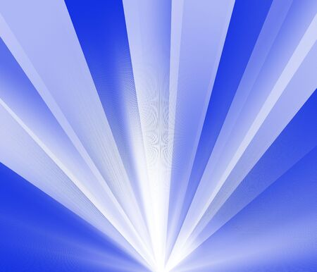 Burst of white light rays on a blue background