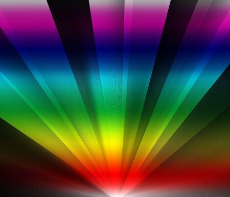 Rainbow colored rays of light Stock Photo