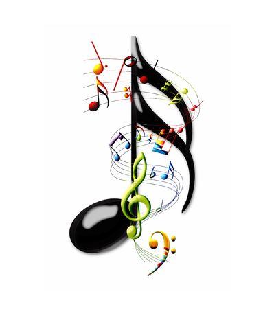 clave de fa: Notas musicales multicolores y personal que giran alrededor de una nota de XVI  Foto de archivo