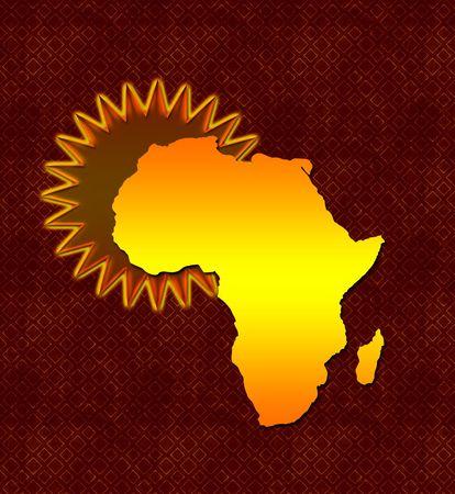 Travel poster illustration of Africa on batik background