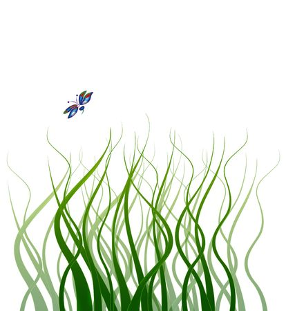 wafting: Long wavy blades of grass with a blue butterfly