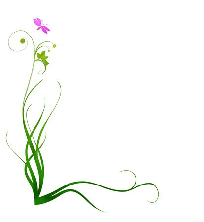 Pretty border of curling blades of grass with pink butterfly Banque d'images - 7608815