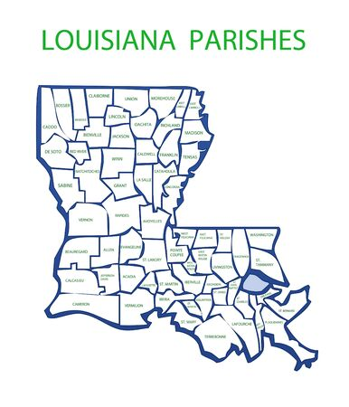 Map of Louisiana showing the names and borders of the parishes