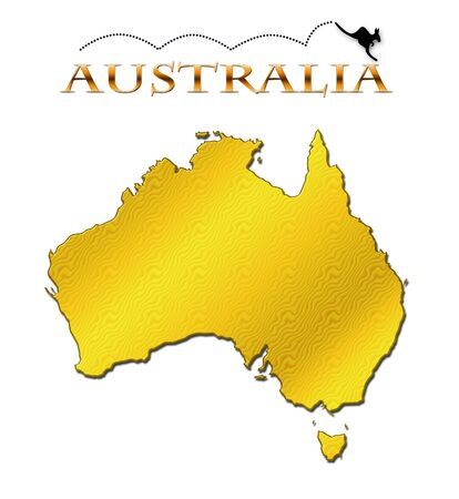 Continent of Australia with a hopping kangaroo photo