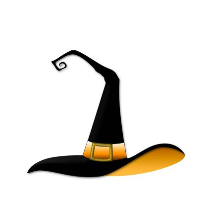 wicca: Whimsical illustration of a Halloween witch hat Stock Photo