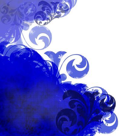 Grunge background or copyspace of blue flourishes Stock Photo