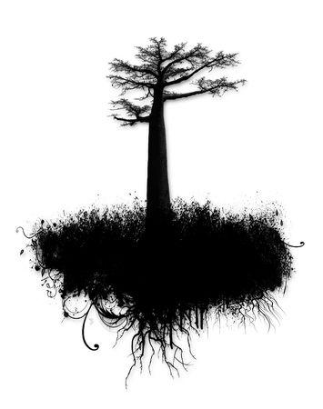 Grunge encre collage avec les arbres et les éclaboussures isolé sur fond blanc  Banque d'images - 7661065