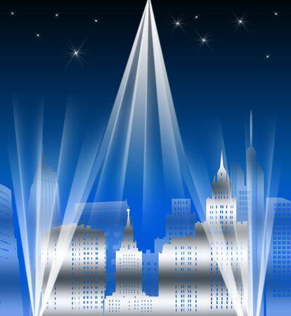 Retro City Skyline at Night