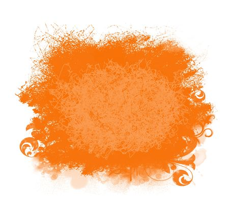 Grunge orange  paint  spatter background isolated on white