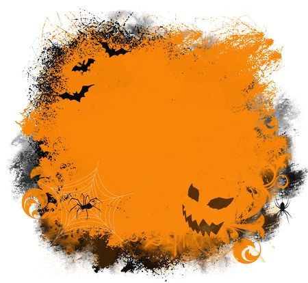 Fun Halloween background with bats, spiders, and jack-o-lantern Stock Photo