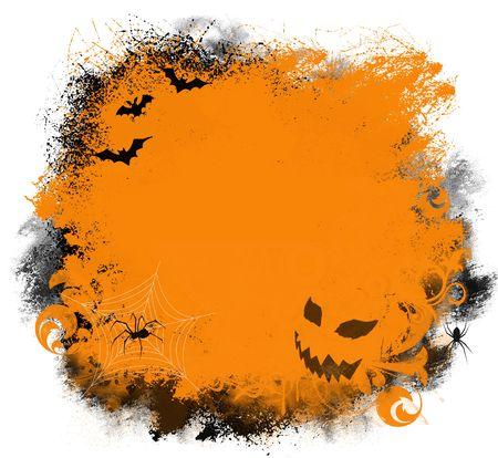 Leuke Halloween achtergrond met vleermuizen, spinnen en jack-o-lantern  Stockfoto