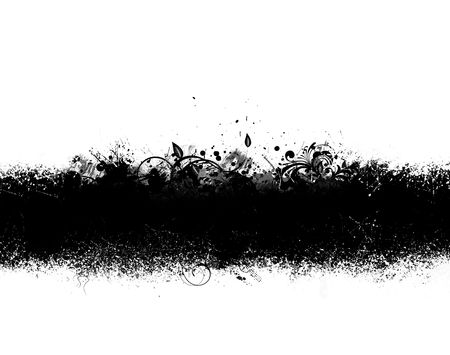 ink stain: Grunge banner of black ink spatter and smudges Stock Photo