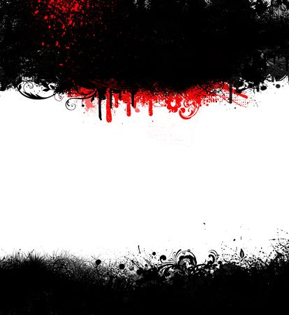 Banner or frame of black grungy ink with red spatter