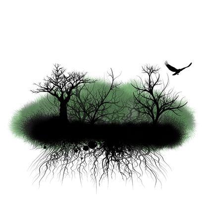 Grunge-bomen en verwarde bramen op wit wordt geïsoleerd eiland