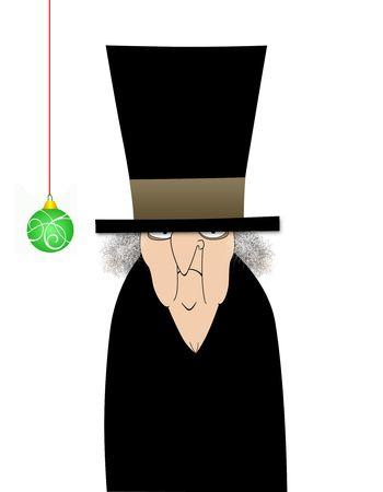 Humoristische illustratie cartoon van Ebenezer Scrooge met één groene ornament