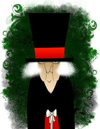 Grungy Scrooge met een kleine rode gift
