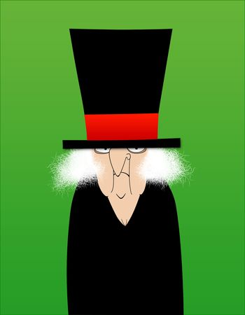 stingy: Whimsical illustration of Scrooge on a green background
