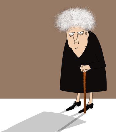 desconfianza: Divertida caricatura de una mujer de edad malhumorada con un bast�n