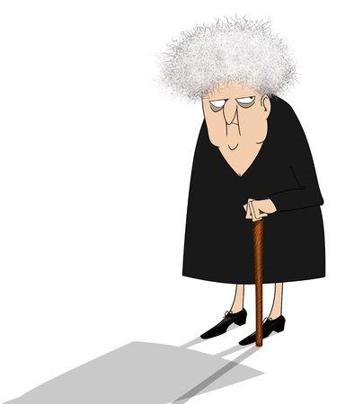 Grappige cartoon van een grillig oude vrouw zijwaarts op zoek