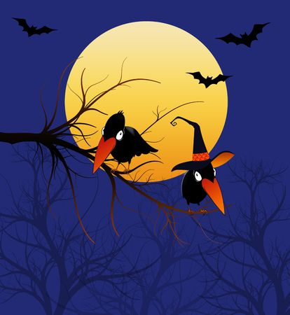 Whimsical cartoon crows or ravens wearing a witch hat under the moon