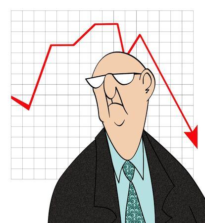 Caricatura humorística de un empresario infeliz en frente de un gráfico de venta malo  Foto de archivo - 7920696