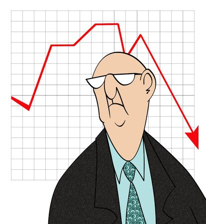 humorous: Humorous cartoon of an unhappy businessman in front of a bad sales chart