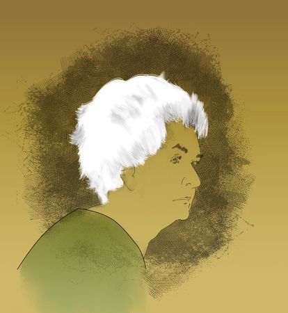 Hand-drawn portrait of an elderly woman with Alzheimers Disease