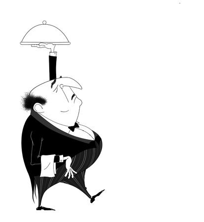 Grappige cartoon van een snobistisch ober in een chique restaurant