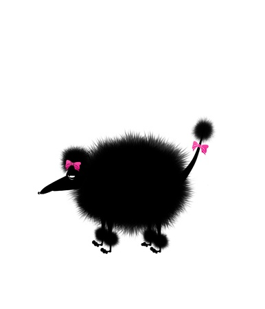 dog grooming: Funny cartoon illustration of an angry poodle with pink bows in his hair Stock Photo