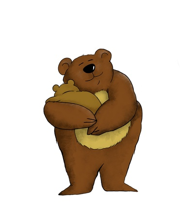 Cartoon of a mother bear holding her baby photo