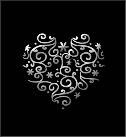 Silver filigree floral heart isolated on black