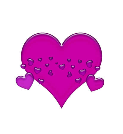 Scattered purple jelly hearts isolated on white