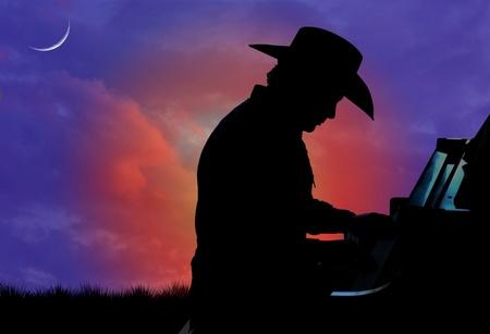 Silhouet van een cowboy spelen de piano met een zonsondergang op de achtergrond