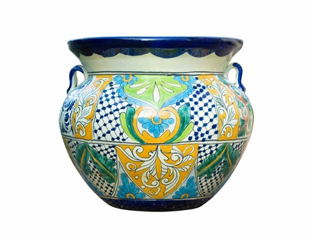 Colorful traditional Mexican Talavera pot with handles