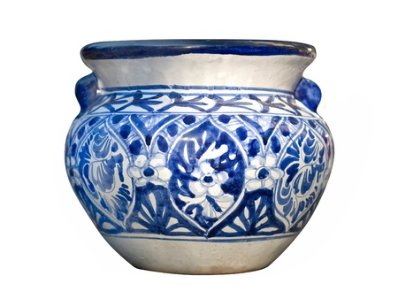 flaws: Example of the blue and white traditional Mexican Talavera pot with handles Stock Photo