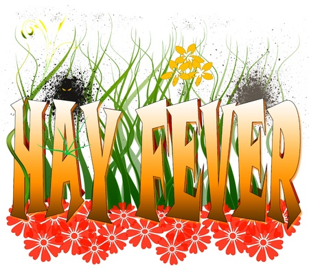 Typography illustration of hay fever and its causes, isolated on white Stock Photo