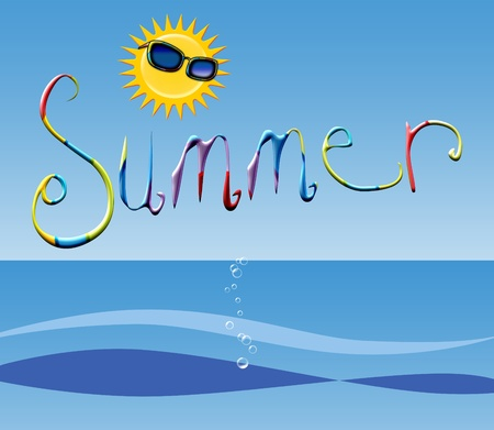 Summer typography illustration with a sun wearing sunglasses