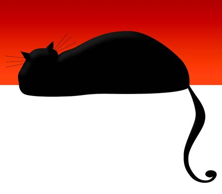 Whimsical illustration of a black cat with a curly tail with room for type