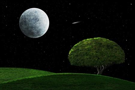 Volle maan debijlagen i en shooting star schijnen op een eenzame boom  Stockfoto