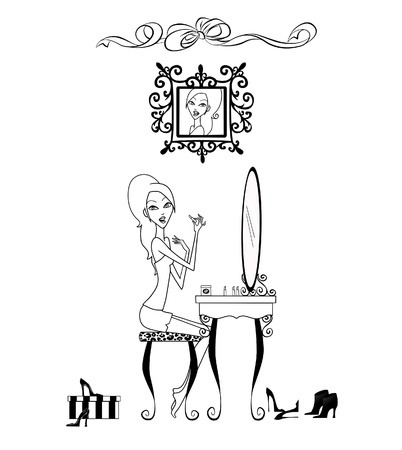 Fashion illustration of a pretty girl seated at her vanity applying makeup illustration