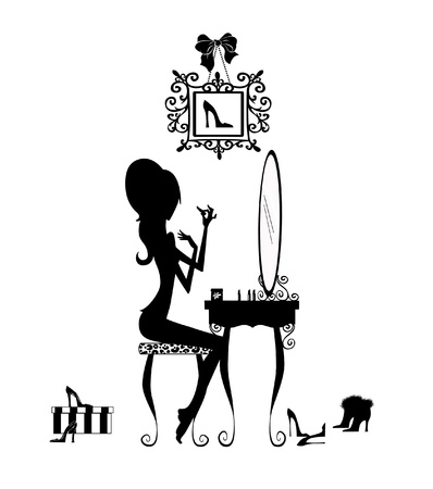 Fashion illustration of a pretty girl seated at her vanity applying makeup
