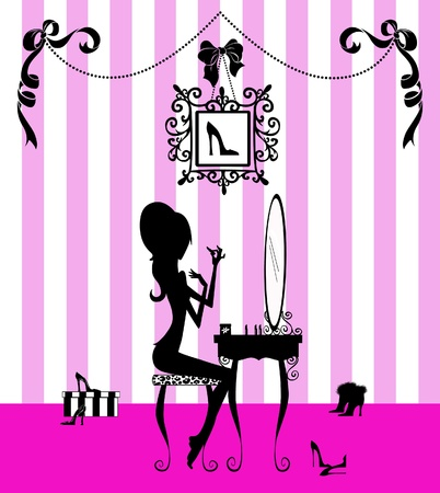 Fashion illustration of a pretty girl at her vanity applying makeup  Stock Illustration - 9206435