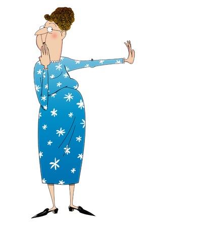 no gustar: Caricatura de una dama desaprobaci�n empujando algo lejos en negativa