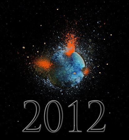 Earth exploding in the year 2012 fulfilling the Mayan prophecy Stock Photo - 9323757